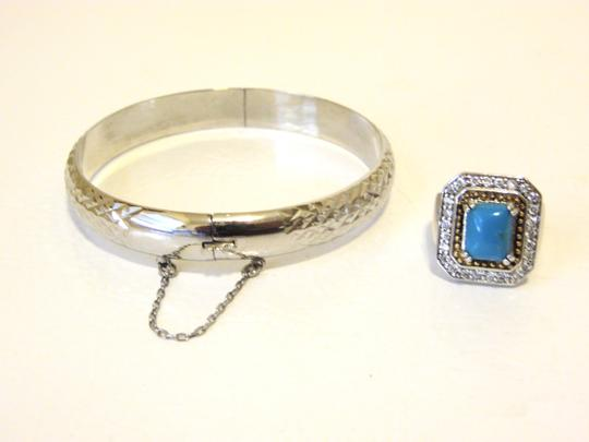 Other Technibond Diamond-Cut Bangle and Created Turquoise Ring Set Image 1