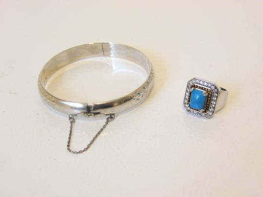 Other Technibond Diamond-Cut Bangle and Created Turquoise Ring Set Image 10
