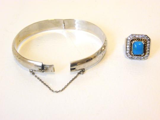 Other Technibond Diamond-Cut Bangle and Created Turquoise Ring Set Image 11