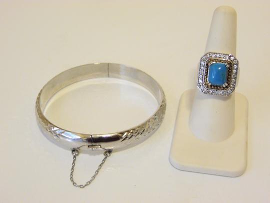 Other Technibond Diamond-Cut Bangle and Created Turquoise Ring Set Image 2