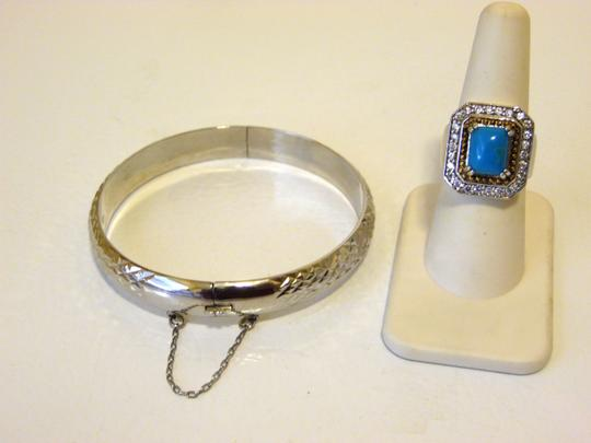 Other Technibond Diamond-Cut Bangle and Created Turquoise Ring Set Image 3