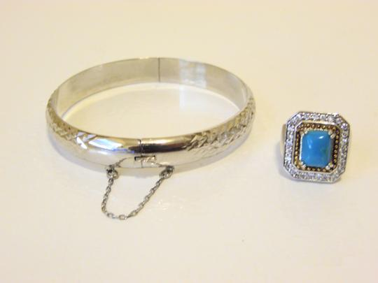 Other Technibond Diamond-Cut Bangle and Created Turquoise Ring Set Image 9