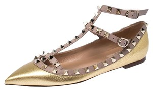 Valentino Leather Ankle Strap Ballet Gold Flats