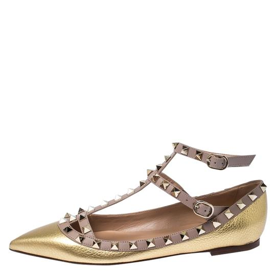 Valentino Leather Ankle Strap Ballet Gold Flats Image 1