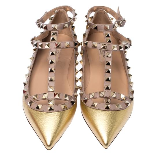 Valentino Leather Ankle Strap Ballet Gold Flats Image 2