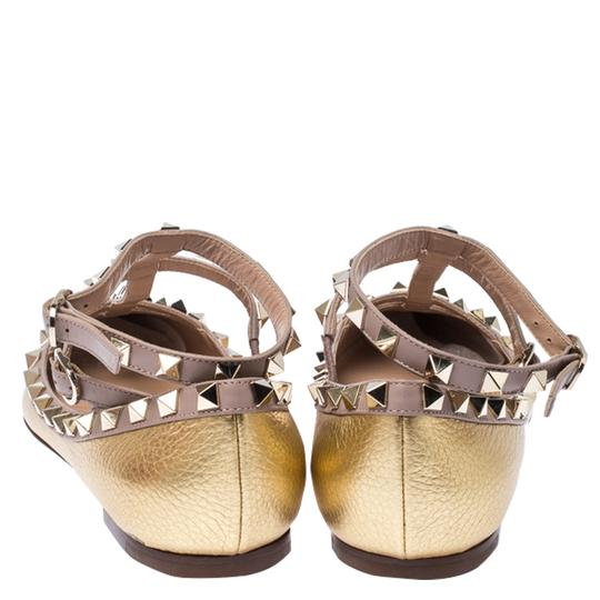 Valentino Leather Ankle Strap Ballet Gold Flats Image 3