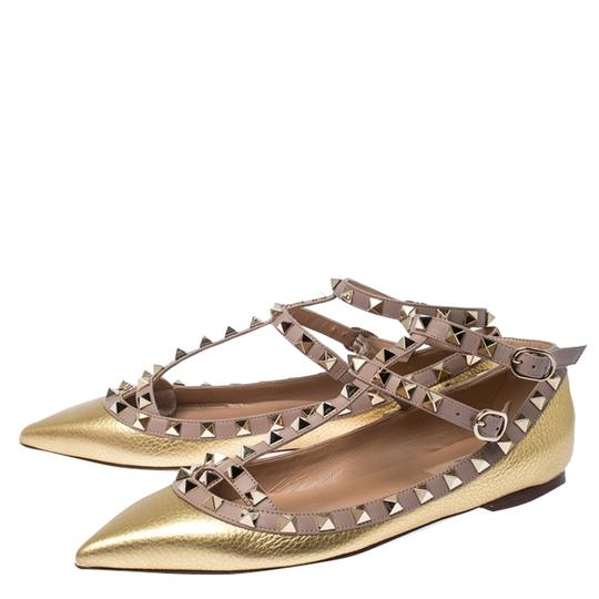 Valentino Leather Ankle Strap Ballet Gold Flats Image 4