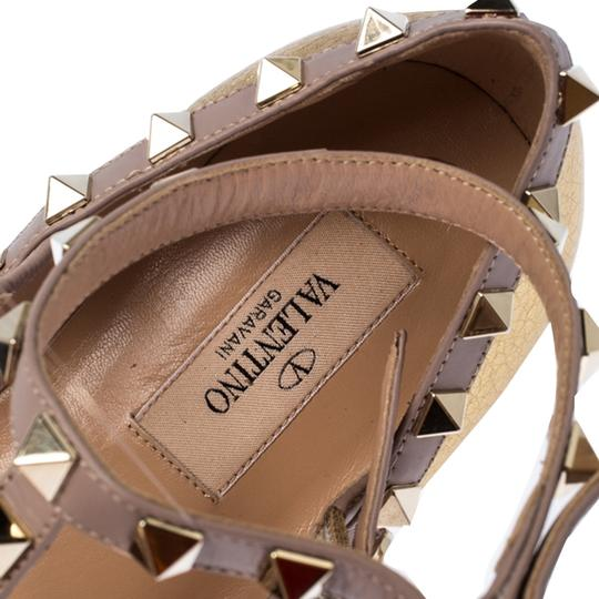 Valentino Leather Ankle Strap Ballet Gold Flats Image 5