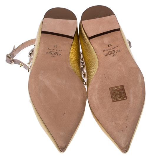Valentino Leather Ankle Strap Ballet Gold Flats Image 6
