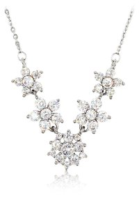Ocean Fashion Silver mini crystal flowers clavicle necklace