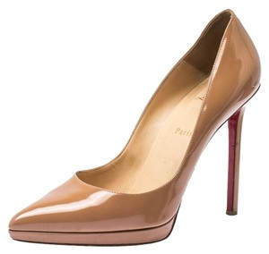 Christian Louboutin Patent Leather Platform Beige Pumps