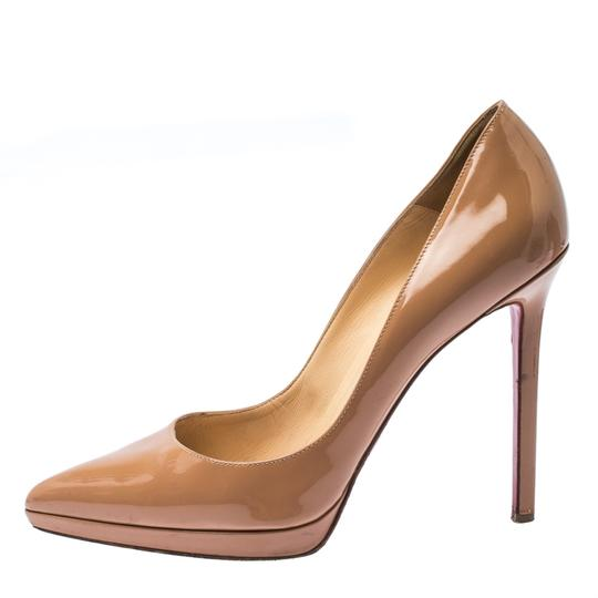 Christian Louboutin Patent Leather Platform Beige Pumps Image 1