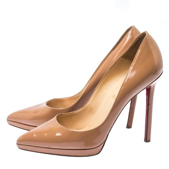 Christian Louboutin Patent Leather Platform Beige Pumps Image 4