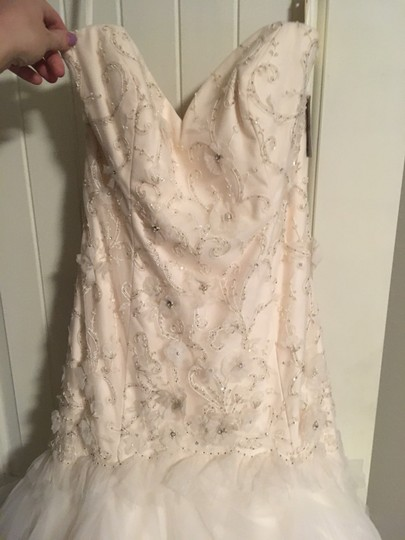 Tara Keely White Oyster Tulle Romantic Drop Waist Floral Skirt Feminine Wedding Dress Size 10 (M) Image 1
