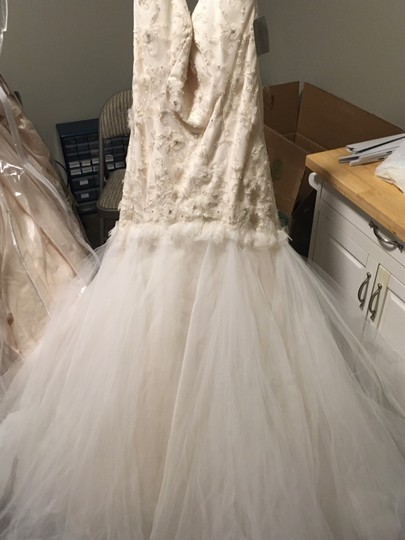Tara Keely White Oyster Tulle Romantic Drop Waist Floral Skirt Feminine Wedding Dress Size 10 (M) Image 2