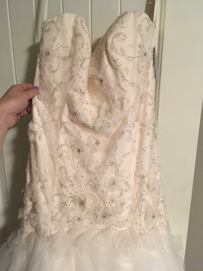 Tara Keely White Oyster Tulle Romantic Drop Waist Floral Skirt Feminine Wedding Dress Size 10 (M) Image 4