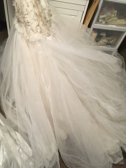 Tara Keely White Oyster Tulle Romantic Drop Waist Floral Skirt Feminine Wedding Dress Size 10 (M) Image 9