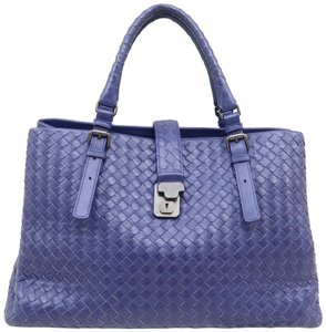 Bottega Veneta Bv Roma Medium Lambskin Tote in Deep Blue