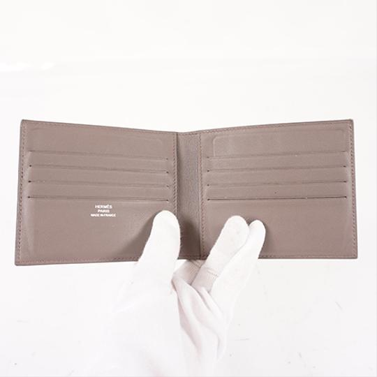 Hermes Auth Hermes Folded Wallet Citizen Twill Silk-In T Stamp Leather Greige Image 2