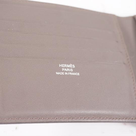 Hermes Auth Hermes Folded Wallet Citizen Twill Silk-In T Stamp Leather Greige Image 4