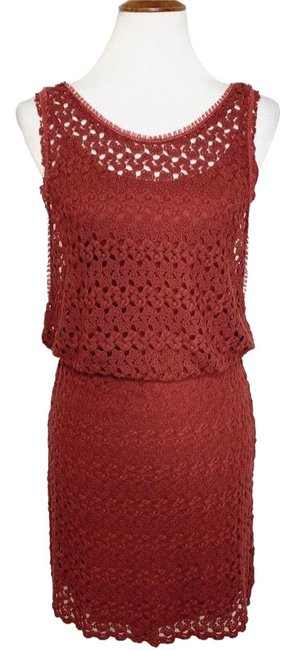 Item - Red Layered Look Crochet Short Night Out Dress Size 4 (S)