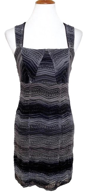 Item - Black Gray Gradient Crochet Knit Sheath Short Night Out Dress Size 8 (M)