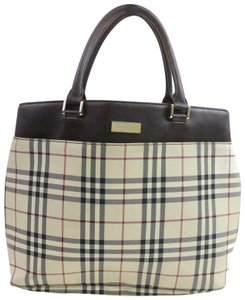 Burberry Leather Society Top Travel Business Gift Laptop Tablet Work School Phone Plaid Check Tote in tan/brown