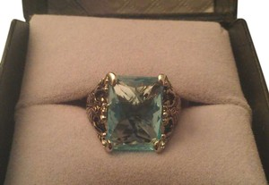 unknown Stainless Steel Ornate Aquamarine Retangle CZ Cocktail Ring