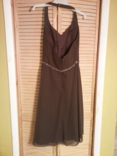 Alfred Angelo Brown/Expresso Chiffon 6323 Formal Bridesmaid/Mob Dress Size 12 (L)