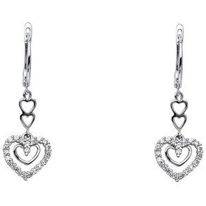 Your Dream Diamond Hoop Dangling Heart CZ Earrings