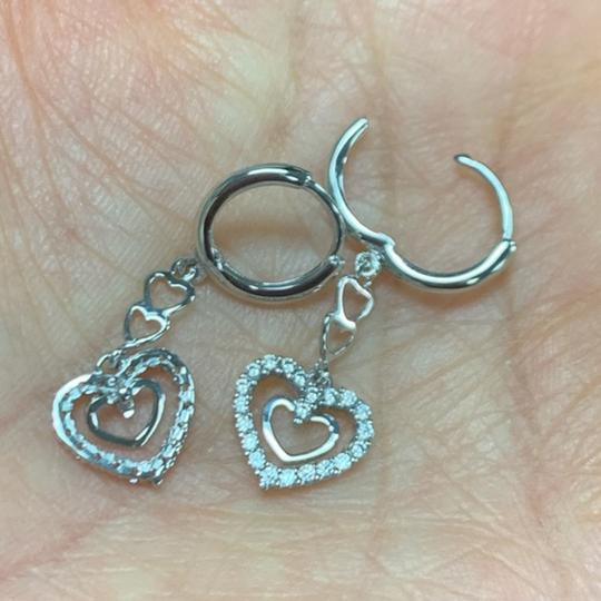 Your Dream Diamond Hoop Dangling Heart CZ Earrings Image 1