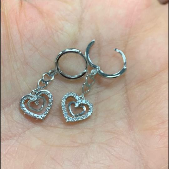 Your Dream Diamond Hoop Dangling Heart CZ Earrings Image 2