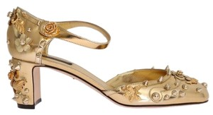 Dolce&Gabbana D3443-1 Women's Leather Fairy Tale Gold Pumps