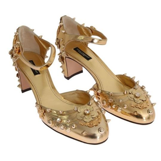 Dolce&Gabbana D3443-1 Women's Leather Fairy Tale Gold Pumps Image 1