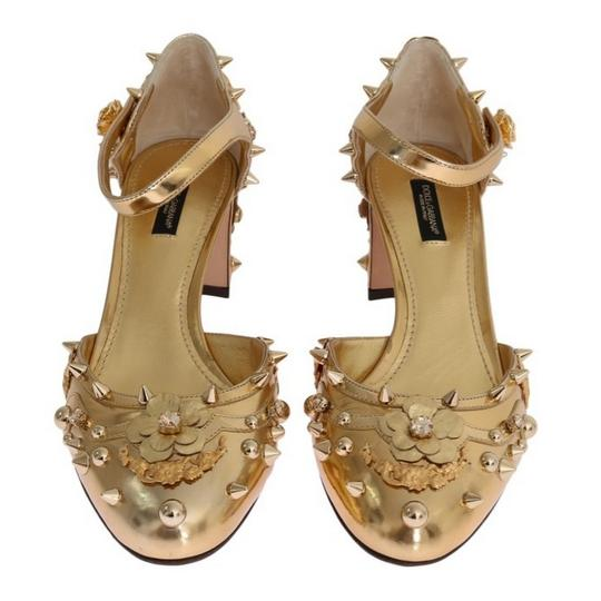 Dolce&Gabbana D3443-1 Women's Leather Fairy Tale Gold Pumps Image 2