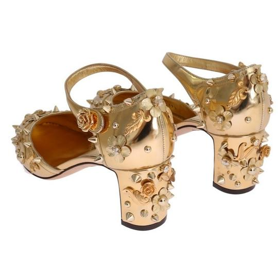 Dolce&Gabbana D3443-1 Women's Leather Fairy Tale Gold Pumps Image 3