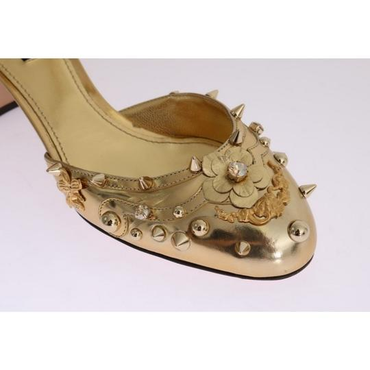 Dolce&Gabbana D3443-1 Women's Leather Fairy Tale Gold Pumps Image 4