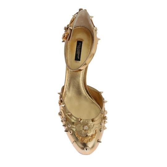 Dolce&Gabbana D3443-1 Women's Leather Fairy Tale Gold Pumps Image 5