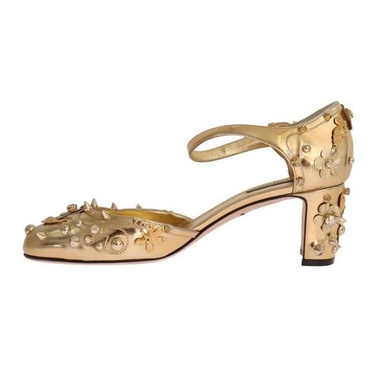 Dolce&Gabbana D3443-1 Women's Leather Fairy Tale Gold Pumps Image 6