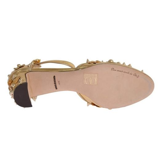 Dolce&Gabbana D3443-1 Women's Leather Fairy Tale Gold Pumps Image 7