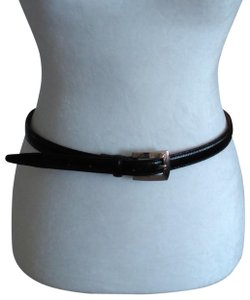 Stone Mountain Accessories Vtg Skinny Belt Black with Silver Buckle Size 14