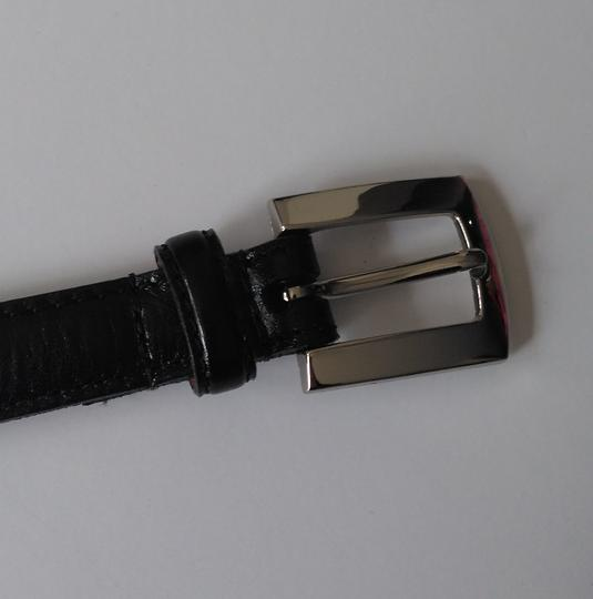 Stone Mountain Accessories Vtg Skinny Belt Black with Silver Buckle Size 14 Image 1