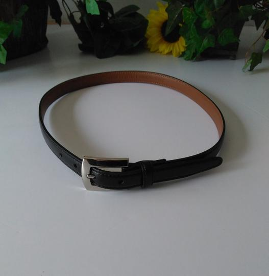 Stone Mountain Accessories Vtg Skinny Belt Black with Silver Buckle Size 14 Image 3