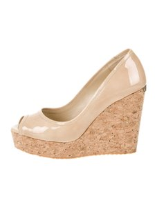 Jimmy Choo Papina Platform Sandals NUDE BEIGE Wedges
