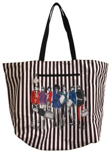 Henri Bendel Tote in Colors: Black on one side and other side has brown/white stripes with beautiful IZAK girl print