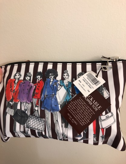 Henri Bendel Tote in Colors: Black on one side and other side has brown/white stripes with beautiful IZAK girl print Image 10