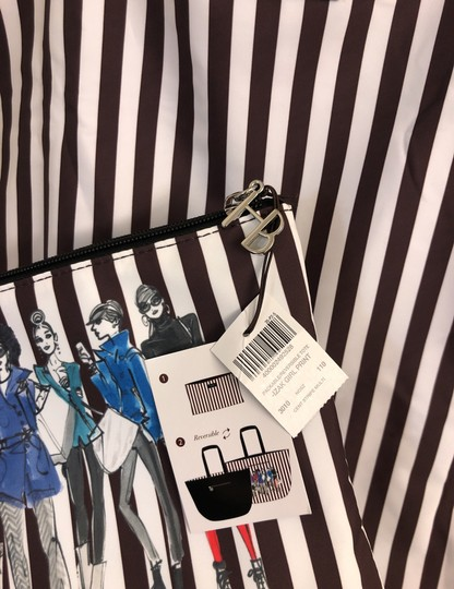 Henri Bendel Tote in Colors: Black on one side and other side has brown/white stripes with beautiful IZAK girl print Image 7