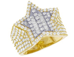 Jewelry Unlimited Mens Yellow Gold Baguette Diamond Super Star Pinky Ring 20mm 3 CT