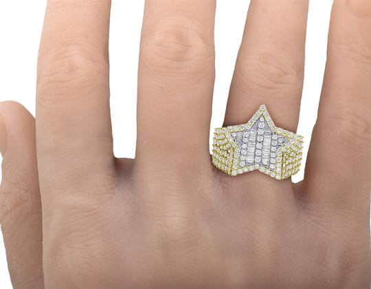 Jewelry Unlimited Mens Yellow Gold Baguette Diamond Super Star Pinky Ring 20mm 3 CT Image 1