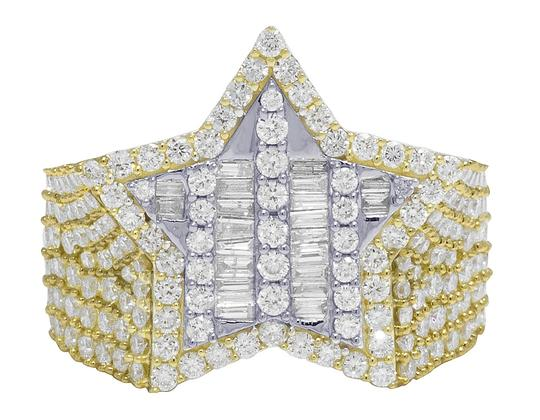 Jewelry Unlimited Mens Yellow Gold Baguette Diamond Super Star Pinky Ring 20mm 3 CT Image 2
